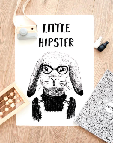 'Little Hipster' Art Print