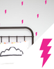 Bright Pink Lightning Bolt Wall Stickers
