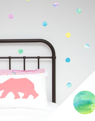 watercolour polka dot wall stickers