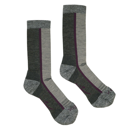Hiker Sock; Color: Pewter Heather/Dahlia; Background: White; Featured: Secondary