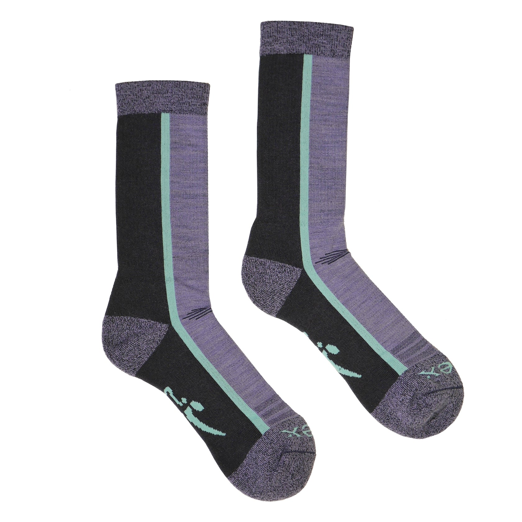 Hiker Sock; Color: Black Navy/Purple; Background: White; Featured: Secondary