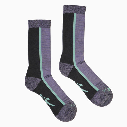 Hiker Sock; Color: Black Navy/Purple; Background: Grey