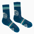 Hiker Warm Crew Socks; Color: Green | Teal; Background: Grey