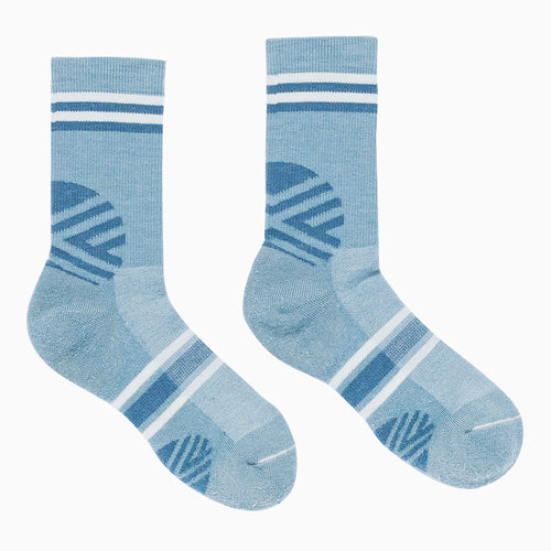 Hiker Warm Crew Socks; Color: Silver | Blue; Background: Grey