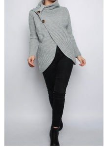 Sweetness Roll Neck Button Wrap Knitted Jumper - Endynelboutique