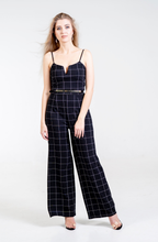 Load image into Gallery viewer, Amaya Grid Print Belted Jumpsuit - Endynelboutique