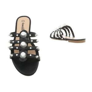 ENDLESS LOVE STUDDED FLAT SANDALS - Endynelboutique