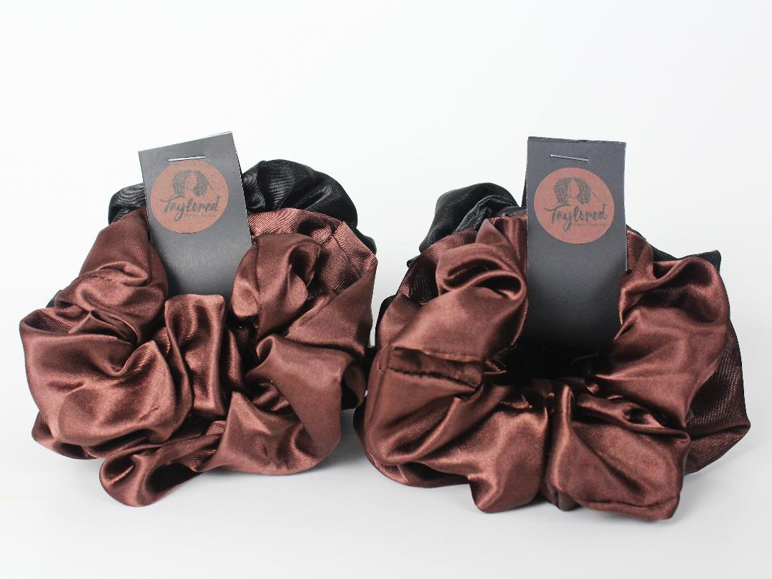 Never Slacken Satin Scrunchies - Taylored Natural Haircare