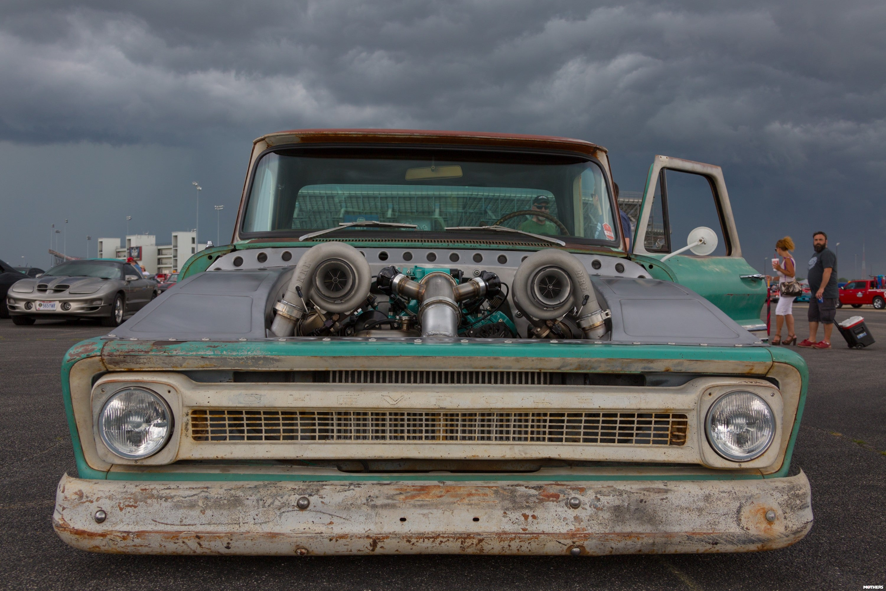 two turbos in an old truck