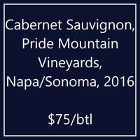 Cabernet Sauvignon, Pride Mountain Vineyards, Napa/Sonoma, 2016