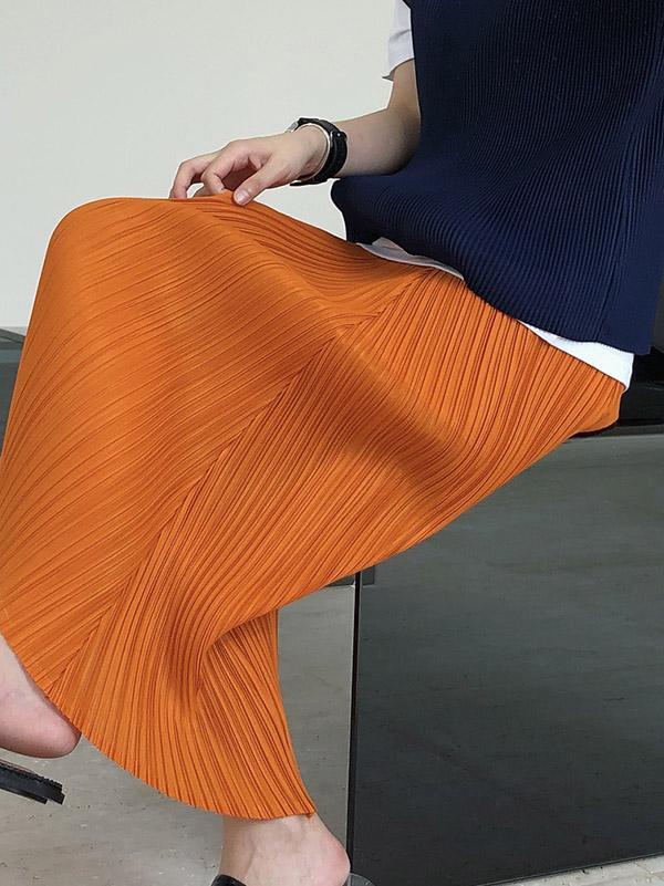 Original  Irregularity Pleats Solid Skirt