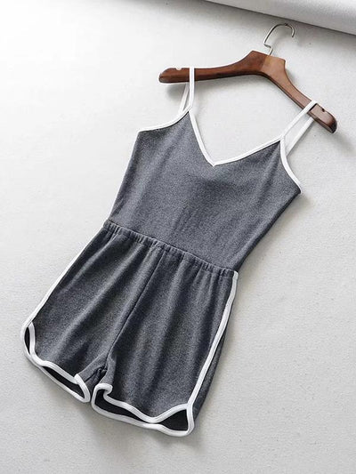 Sports Contrast Color Spaghetti-neck Rompers