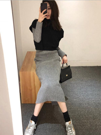 LOOSE COMFORTABLE WOOL 2-PIECE SKIRTS
