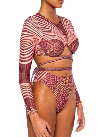 Sexy Bandage Split-Joint Long Sleeves Bikini Swimsuit