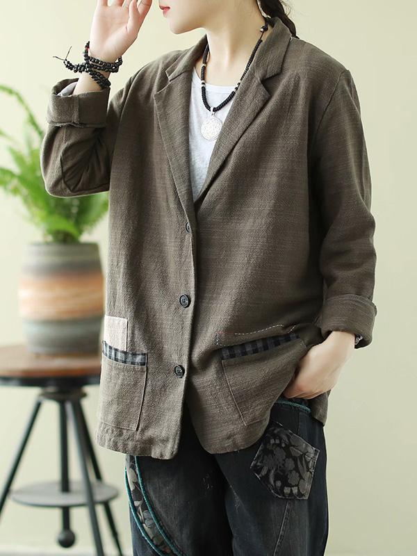 Original Solid With Pocket Lapel Outwear