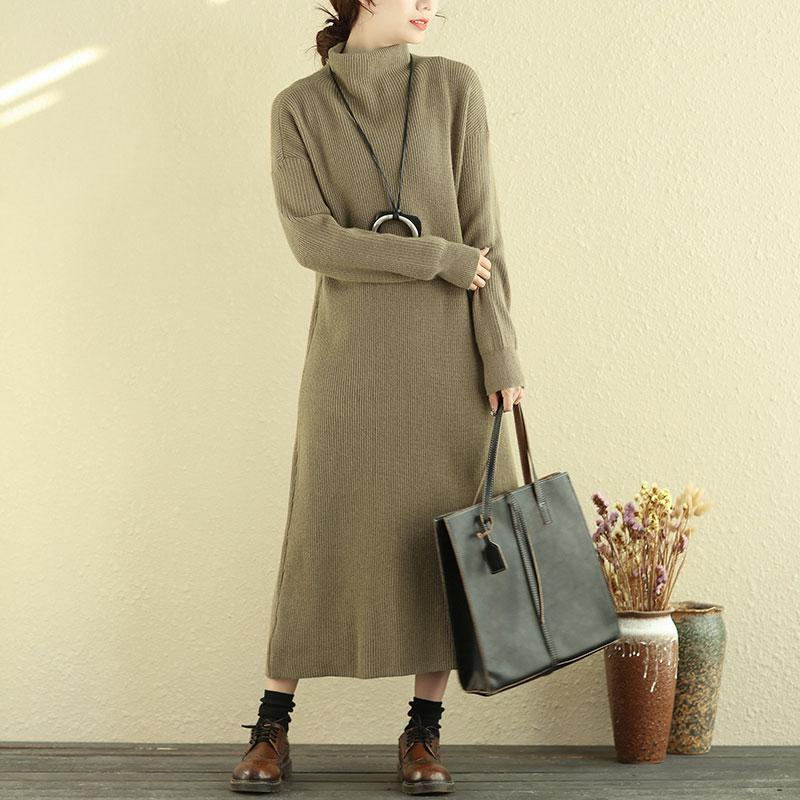 Women Mock Turtle Neck Long Sleeve Khaki Knitted Sweater Dress