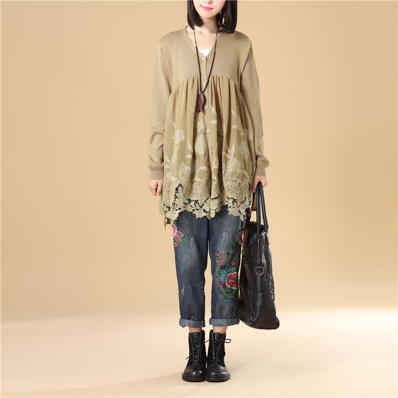 Women Embroidered Long Sleeve Khaki Pleated Sweater Dress