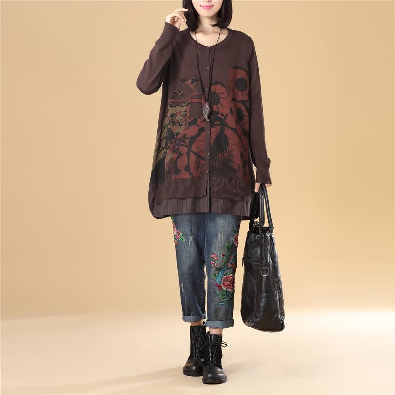 Casual Women Single Breasted Long Sleeve Coffee Printing Sweater
