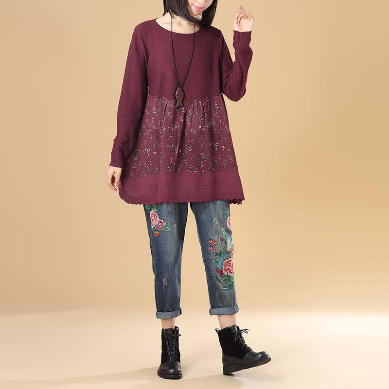 Women Round Neck Long Sleeve Splicing Printing Wine Red Sweater Dress