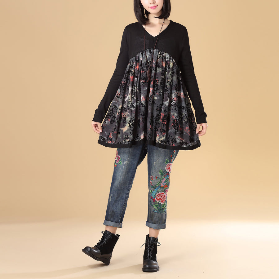 Women Autumn V Neck Long Sleeve Splicing Printing Black Sweater Dress