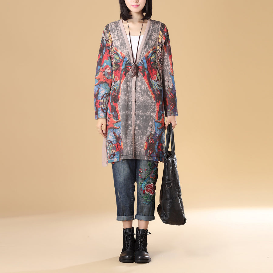 Printing Sweater for Women, Autumn Single Breasted Long Sleeve-Size: US 6-10