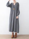 Solid Puff Sleeves Elastic Waist Sweater V-Neck Dress