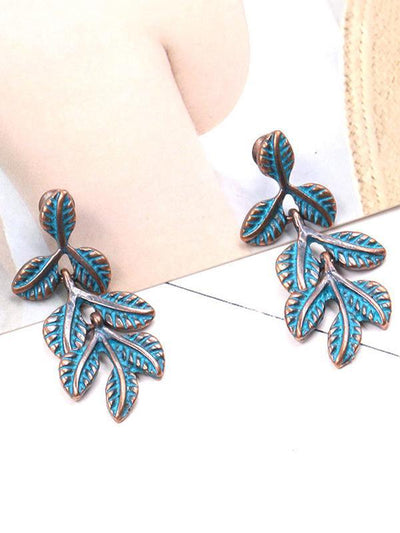 Vintage 2 Colors Leaf Pattern Earring Accessories