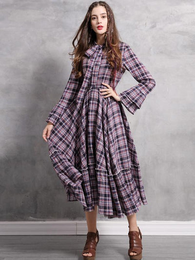 Spring Boho Vintage Bow Plaid Dresses Stand Collar Flare Sleeve Cotton Dresses
