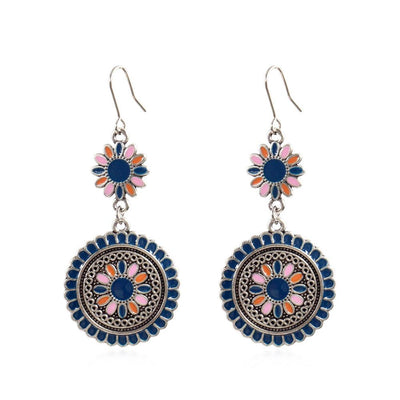 8111655 earrings round flower drop earrings wholesale