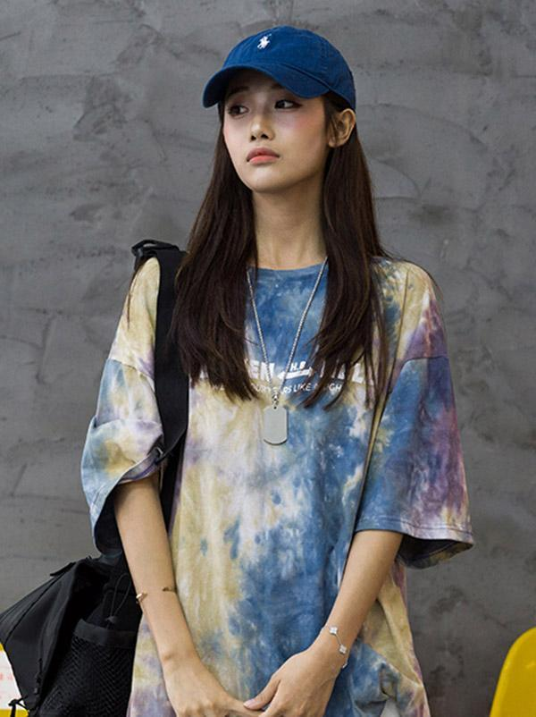 Casual Tie-Dyed Printed T-shirt