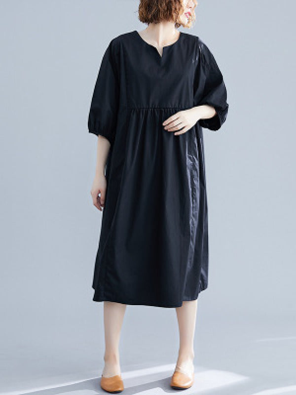 Casual Loose Solid Half-Sleeve Long Dress