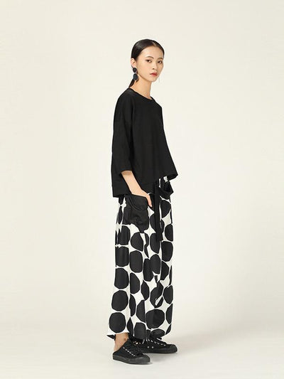 LOOSE POLKA-DOT LOOSE HAREM PANTS