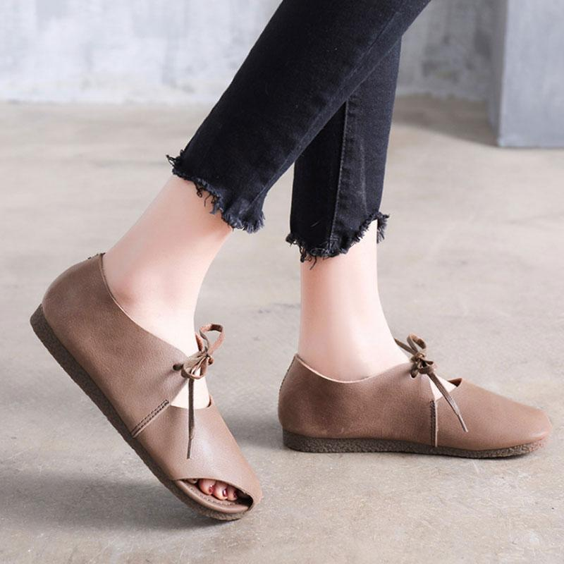 Spring Summer Shoes Flat Heel Lacing Coffee Sandals