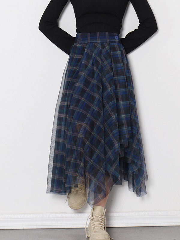 Fashionable Sexy Plaid Empire A-Line Gauze Skirt