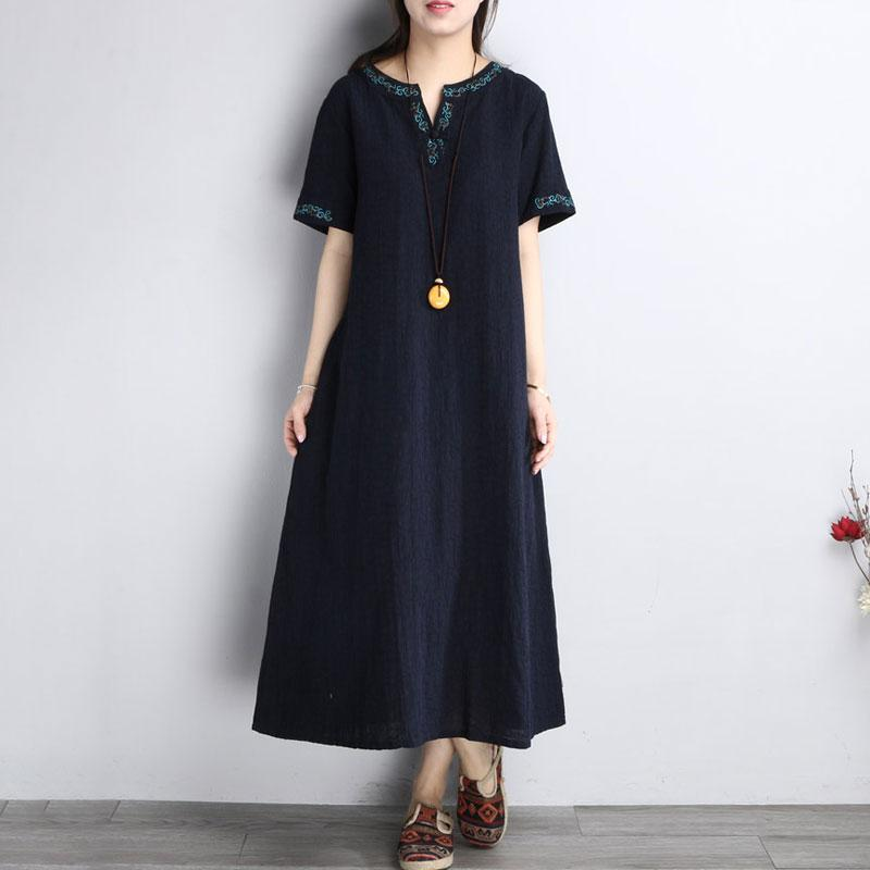Summer Embroidery Short Sleeve Loose Navy Blue Dress