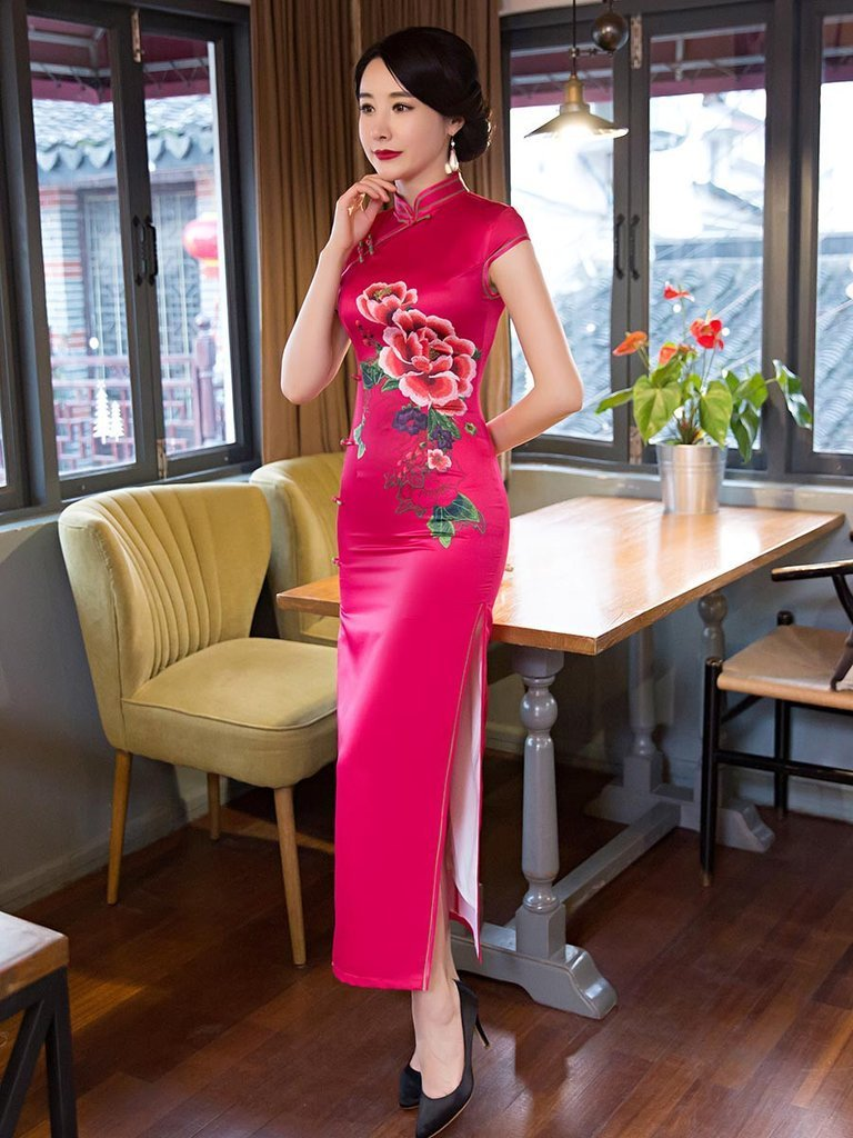 Fuschia Embroidery Turtle Neck Long Cheongsam Dress