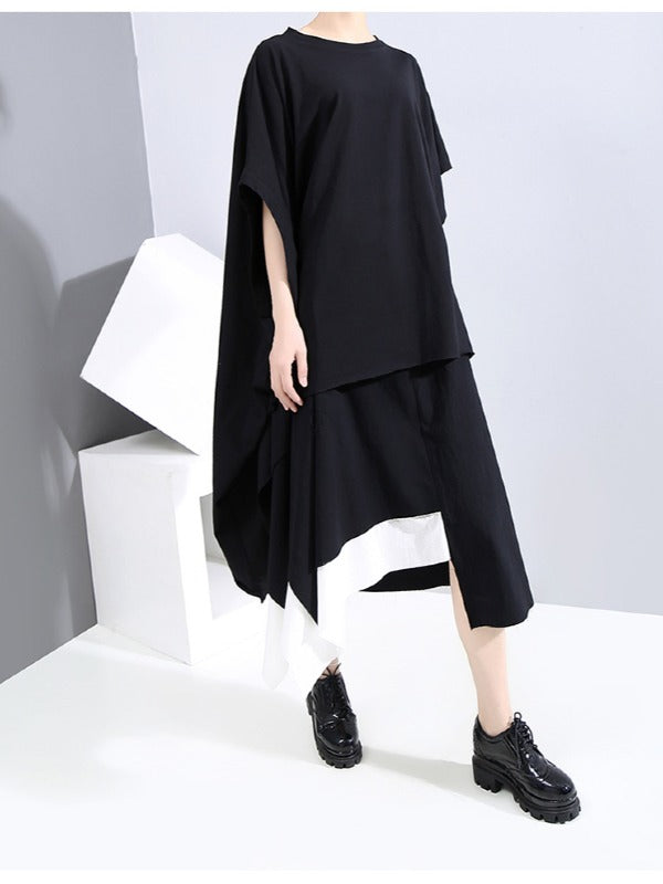 Original Cropped Batwing Sleeves Solid T-Shirts