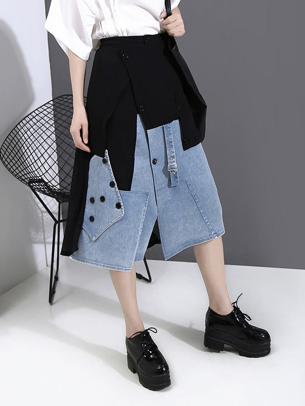 Fashion Empire Split-Joint Denim A-Line Skirt