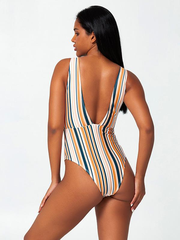 Sexy Deep V-Neck Hollow Stripes One-Piece Bikini Swimwear