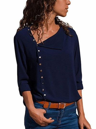 Fashion Cropped Skew Collar T-shirt
