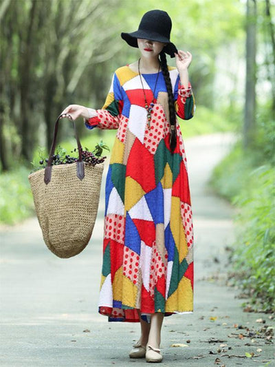 Colorful Cube Printed Long Dress