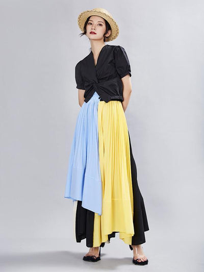Ruffled Asymmetric Split-joint Skirt