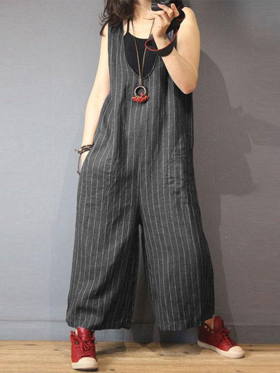 Striped V-neck With-pockets Wide Leg Jumpsuits