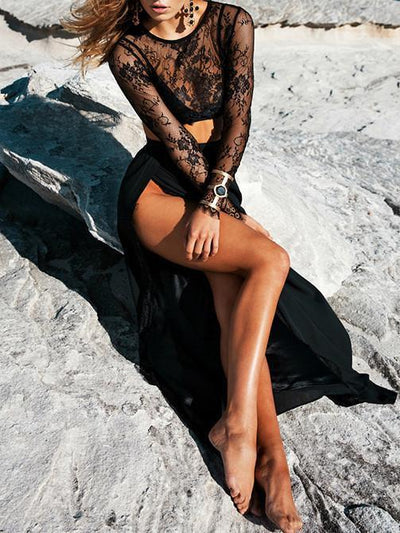 Black Sexy Lace Hollow Tops And Side Split Skirt Bottoms