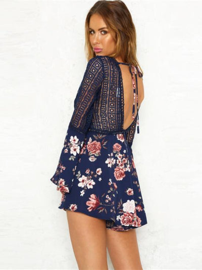 Lace Hollow Flare Sleeves V-neck V-back Romper