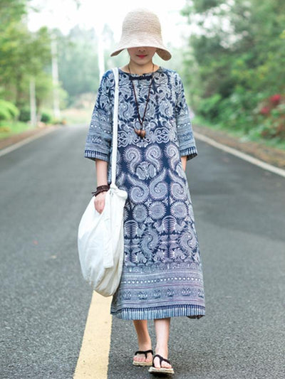 Casual Three Quarter Long Sleeves Dress with Blue Ornament