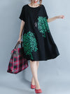 Black Medium Cotton Dress with Floral Print and Round Collar