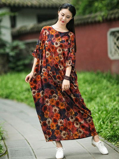 Chinese Authentic Round Neck Loosen Dress with Floral Print