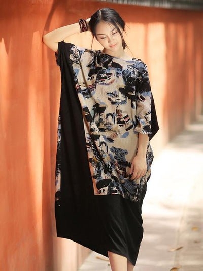 Large Sizes Jacquard Split-Joint Ink Printing Maxi Dress