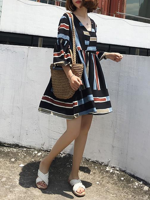 Casual Striped A-Line&V-neck Mini Dress